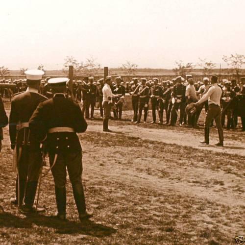 Hungarian officers fencing saber
