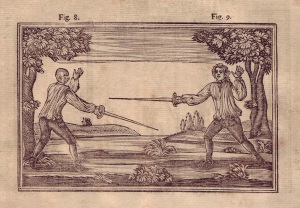 The left fencer is getting ready to close with his curly-haired opponent.