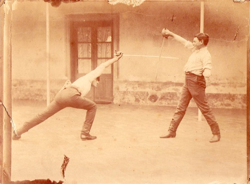 Praticing saber fencing in the Pampa