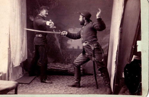 Two Union soldiers playing with sowrds
