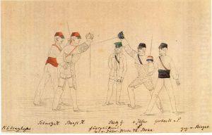 A roughly contemporary Mensur image, Corps Palatia (r.) v. Corps Hansea.